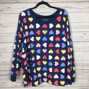 Woman Within Multicolor Heart Print Sweatshirt 3X